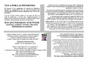 Debate sobre las Pensiones el Sábado a las 20:00